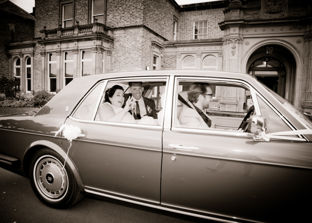 Bride & Groom leave preston Park