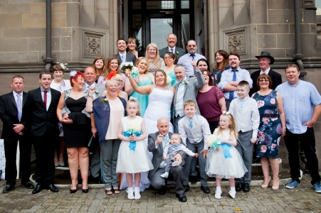 Wedding group outside Middlesbrough Town Hall