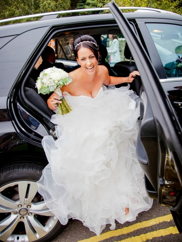 Bride arrives at the church in Yarm