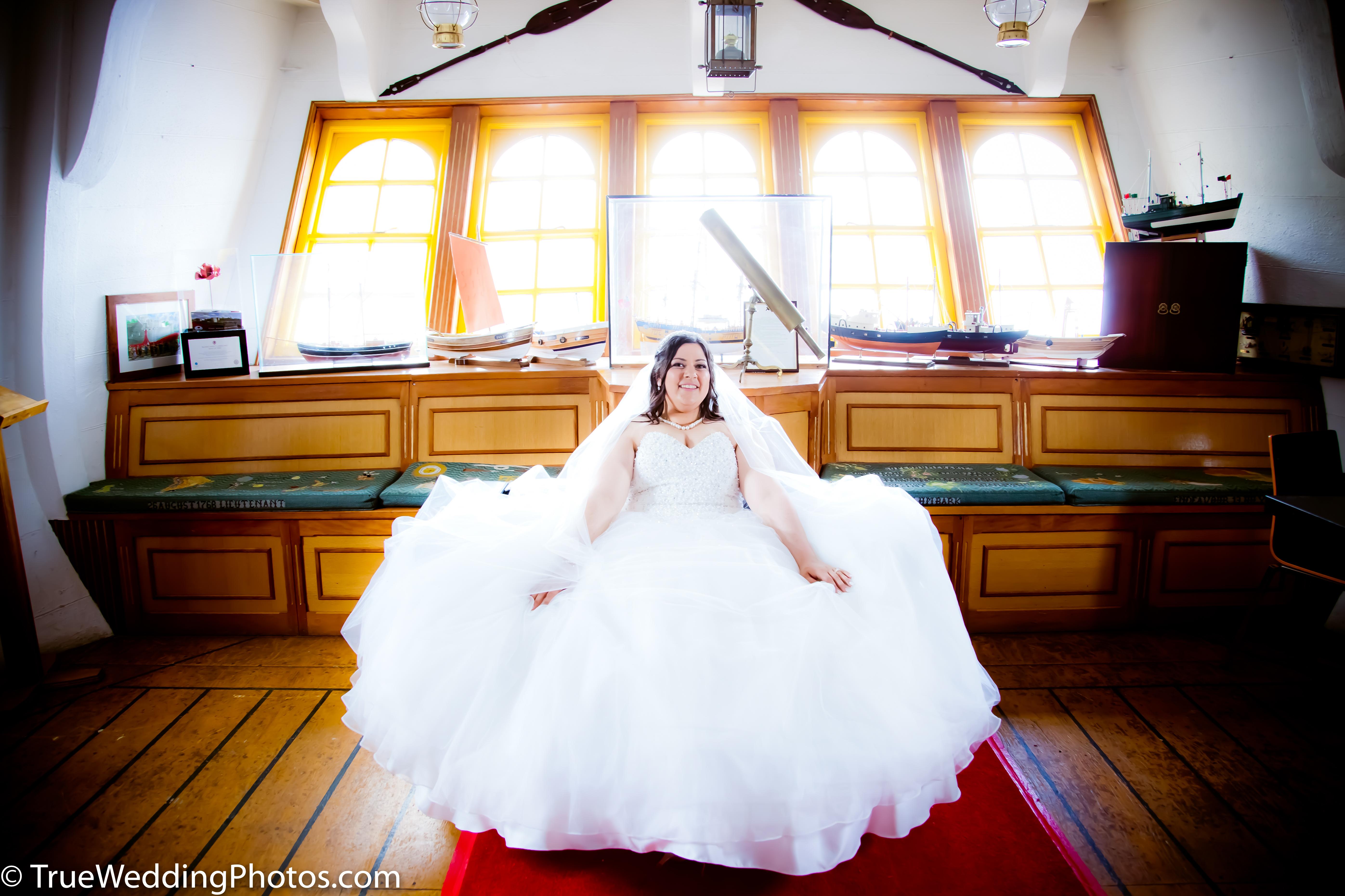 Wedding Bride,HMS Endeavour,Stockton on Tees wedding photographer