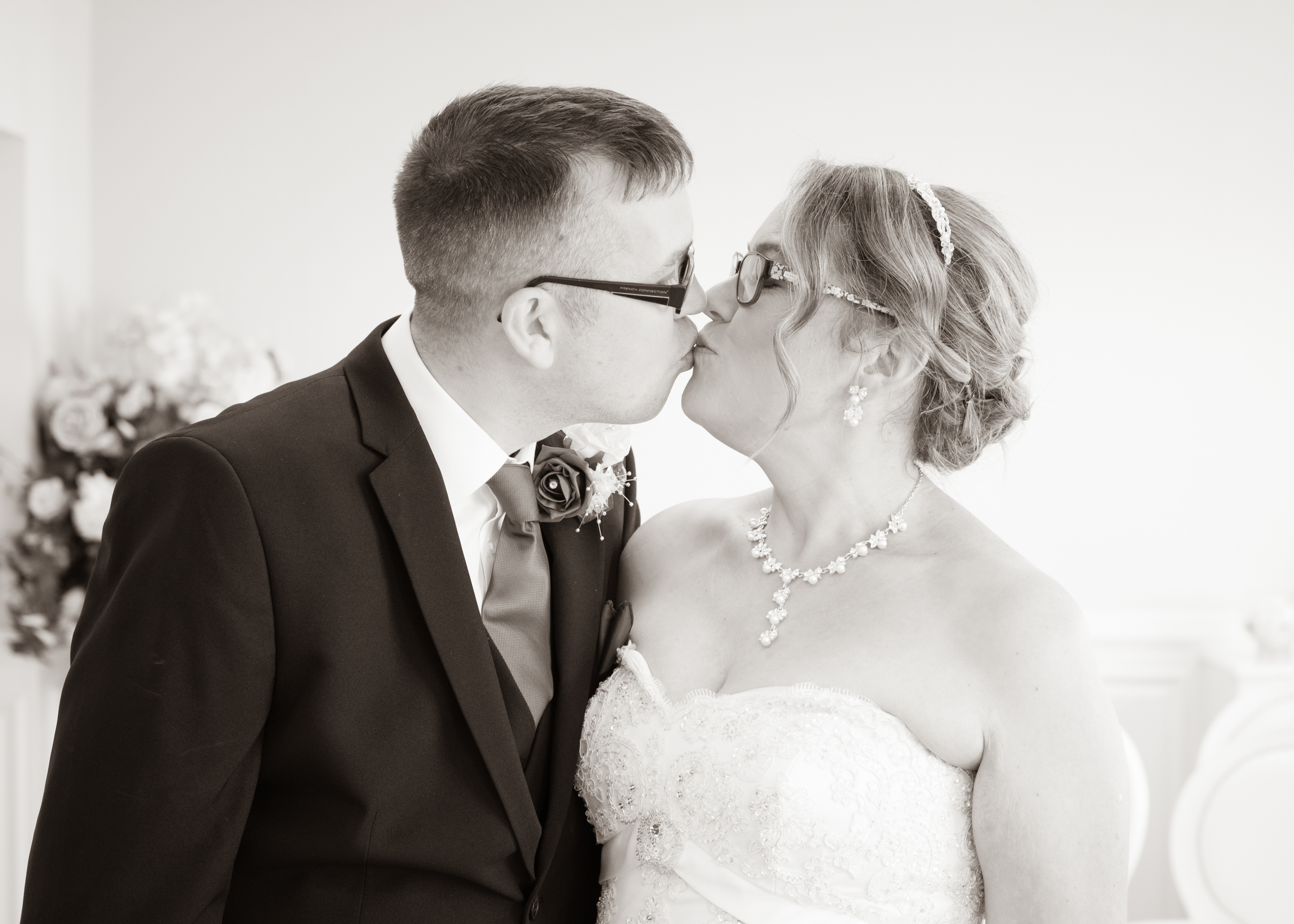 Bride & Groom kiss after their wedding ceremony at Stockton registry office