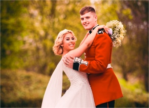 Bride and Groom at the Sporting Lodge